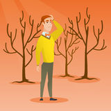 Forest destroyed by fire or global warming. stock illustration