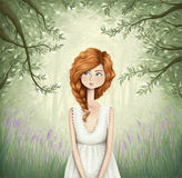 Through the forest. Digital illustration of a cute ginger-haired girl walking through a beautiful forest Royalty Free Stock Photos
