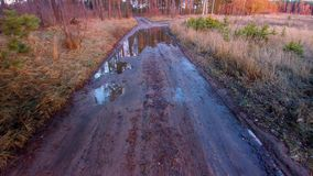 Forest dirty road. Forest dirty poor road with puddles stock video