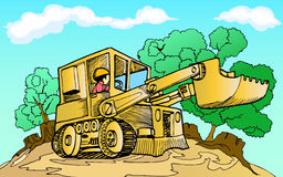 Forest distruction. Illustration of tractor with broken forest background Royalty Free Stock Photo