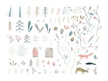 Forest doodle elements. Hand drawn cute illustrations. stock illustration