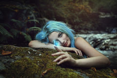 Free Forest Dryad Observing A Magical Butterfly Stock Images - 58277994