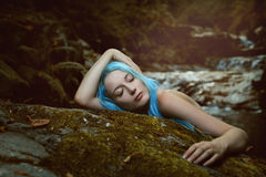 Forest dryad sleeping peacefully Stock Photos