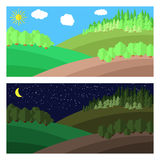 Forest. Edge of the Forest. Day and Night in the Forest Stock Photography