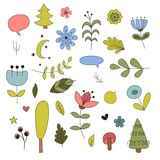 Forest elements in cartoon style. Vector illustration.  Stock Photo