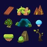 Forest Elements für Spiel Glänzendes und glattes Schild und Taste mit den blauen und weißen Farben stock abbildung