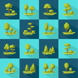 Forest Elements Flat Icons Set. Forest elements long shadow flat icons set with trees and shrubs on blue background isolated vector illustration Royalty Free Stock Photos