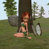 Forest Elf Girl and Butterfly Stock Photography