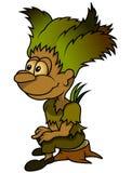 Forest Elf Sitting On Stump Stockbild