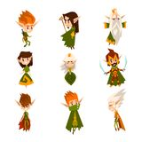 Forest elves set, fairytale magic characters in green clothes vector Illustrations on a white background. Forest elves set, fairytale magic characters in green Royalty Free Stock Photos