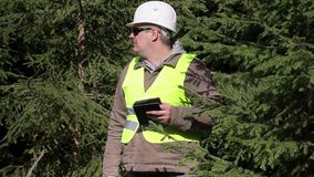 Forest engineer with tablet PC in backwoods stock video