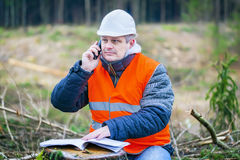 Forest engineer talking on a cell phone in the forest Royalty Free Stock Image