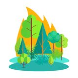 Forest Engulfed in Fire Isolated Illustration. Fire in countryside or rural area that engulfed various kinds of combustible trees, bushes and grass isolated Stock Images