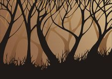 Forest in the evening. Forrest silhouette background . Illustration's objects are moved to separate layers for easy editing Royalty Free Stock Photos