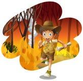 Forest Explorer Running van Wildfire royalty-vrije illustratie