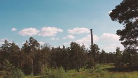 Forest factory, sky, clouds, wind. Forest factory, sky, clouds wind landscape video stock video