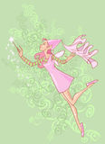 Forest fairy. Illustration of a forest fairy doing some magic on the background of green ornament stock illustration