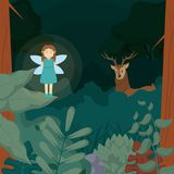 Forest fairy with deer vector illustration