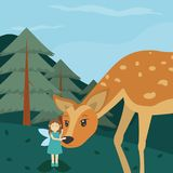 Forest fairy with deer. Cute cartoon vector illustration graphic design stock illustration