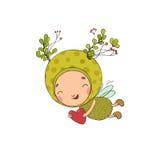 Forest Fairy en hart op een witte achtergrond stock illustratie