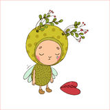Forest Fairy and heart. Hand drawing objects on white background. Vector illustration vector illustration