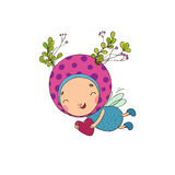 Forest Fairy and heart. On a white background vector illustration