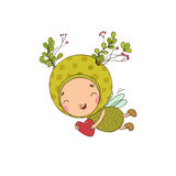 Forest Fairy and heart on a white background. Forest Fairy . Hand drawing objects on white background. Vector illustration stock illustration