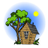 Forest fairy house with a tree,. Vector illustration Royalty Free Stock Photos