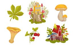 Free Forest Fairy Houses And Botany With Mushroom And Strawberry Branch Vector Set Stock Photos - 181140933