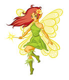 Forest fairy. Illustration of forest fairy with magic wand royalty free illustration