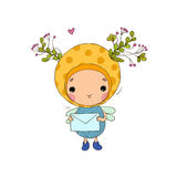 Forest Fairy and letter on a white background. Forest Fairy and letter. Hand drawing objects on white background. Vector illustration royalty free illustration