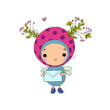 Forest Fairy with a letter. On a white background. Vector illustration vector illustration