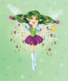Forest Fairy met Groen Haar Royalty-vrije Stock Afbeeldingen