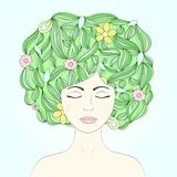 Forest fairy portrait. Vector illustration of beautiful girl. Forest fairy portrait vector illustration