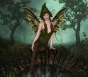 Forest Fairy. Sitting on the bridge forest vector illustration