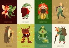 Forest Fairy Tale Characters Cards Set vector illustration