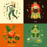 Forest Fairy Tale Characters Concept Icons Set royalty free illustration