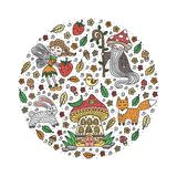 Forest fairy tale set. Vector illustration. Forest fairy tale set. Cute hand-drawn animals and creatures in circle shape. Isolated on white background. Vector royalty free illustration