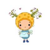 Forest Fairy und Buchstabe auf einem weißen Hintergrund Stockbild