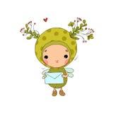 Forest Fairy und Herz auf einem weißen Hintergrund Stockfotos