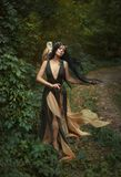 Mysterious sorceress with a bird. A forest fairy wanders through the forest with a white owl. Gyana is a mythical creature in a green dress. Artistic Photography stock photos