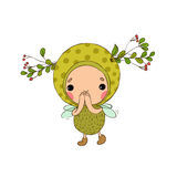 Forest Fairy on a white background. Hand drawing objects on white background. Vector illustration stock illustration