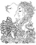Forest fairy with wreath on head hugging swan in flower for anti stock illustration