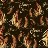 Forest fern. Golden leaves on black background. Seamless pattern. Design for textiles, packaging materials, background image for advertising, poster Stock Photo