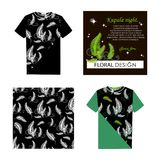 Forest fern. Kupala night. Set. T-shirt, postcard, pattern. Blossoming forest fern at night. Poster with place for text. The image can be used in perfumery Stock Image