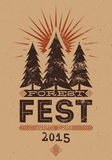 Forest Festival vintage grunge poster. Retro typographic vector illustration. Royalty Free Stock Image