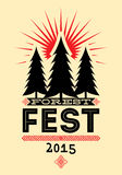 Forest Festival vintage poster. Retro typographic vector illustration. Stock Images