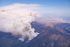 Forest Fire - Aerial View. Aerial view of a California forest fire Royalty Free Stock Photo