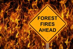 Forest Fire Ahead Caution Sign photos libres de droits