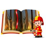 Forest on fire in the book and firefighter. Illustration of forest on fire in the book and firefighter Royalty Free Stock Photo